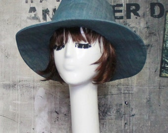 Fedora Hat Denim, Sun Hat, Panama Hat, Boho Hat, Wide Brim Hat, Summer Hat, Light Blue Denim Hat, Beach Hat, Sale Hat