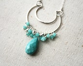 Silver Turquoise Necklace, Bohemian Jewelry, Boho Necklace