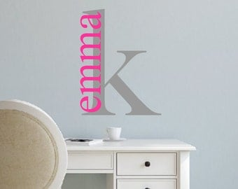 Vinyl Wall Decal- Initial and Name-Vinyl Lettering- Personalized Decal- Girl or Boy-