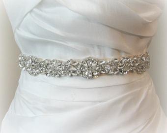 "Silver Crystal Skinny Sash, Narrow Bridal Sash, Silver Rhinestone Wedding Belt, 18"" of Rhinestones, Gold Crystal Sash - ALANA"