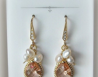 Peach Champagne Crystal Earrings, Gold or Silver Bridesmaid Earrings with Freshwater Pearls, Custom Colors