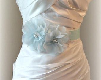 Light Blue Bridal Sash, Velvet Sash with Sky Blue Flowers, Pearls, Crystals, Lace, Wedding Belt - SOMETHING BLUE