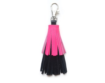 Neon Leather Tassel Key Chain, Hot Pink and Black Tassel Fringe, Layered Key Chain, Bag Purse Charm, Leather Key Fob, Leather Accessories