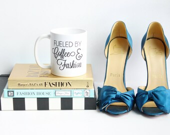 Fueled by Coffee and Fashion / black and white coffee mug - inspirational - ceramic - blogger - boss lady - fashion - style - clothing