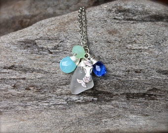 Mermaid Necklace - Sea Glass Jewelry from Hawaii - Hawaiian Jewelry - Mermaid Jewelry made in Hawaii - Sea Glass Necklace Seaglass Necklace