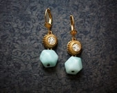 Robins Egg Blue Chalcedony Earrings with Vintage Rhinestones