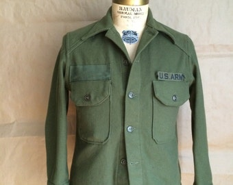 vintage 70's military shirt / army shirt / wool shirt jacket / military / oversized fit