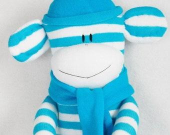 Stuffed Toys, Sock Monkey Doll Teal and White Stripes, Stuffed Animal, Kids