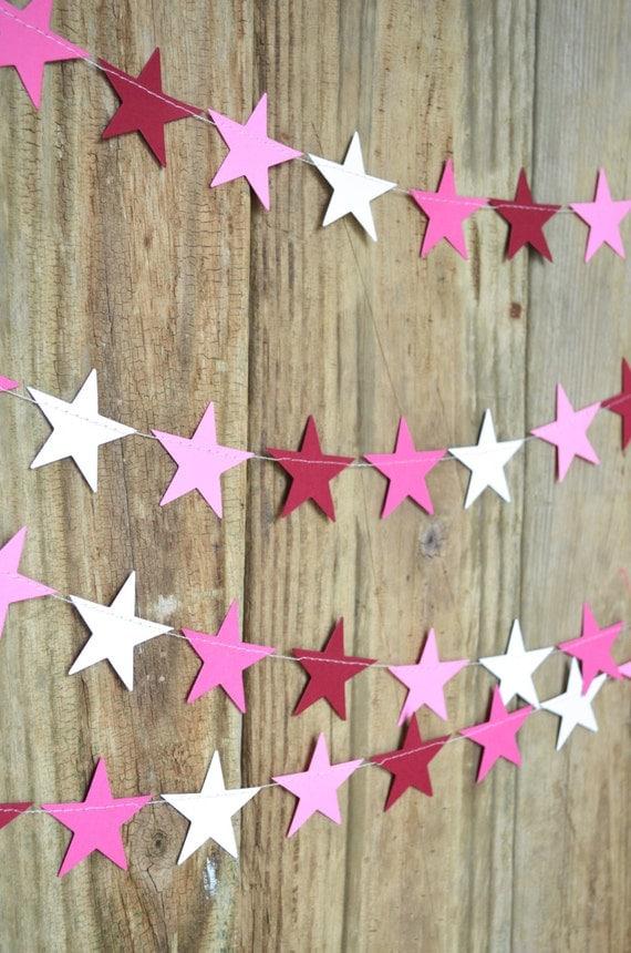 Pink Stars Garland - white, light and dark pink