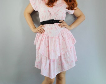 FREE SHIPPING Summer Dress, Pink, Vintage 80s, Ruffle, Short, Cute, Date, Spring Break, Party, Festival, New Wave, Size Medium