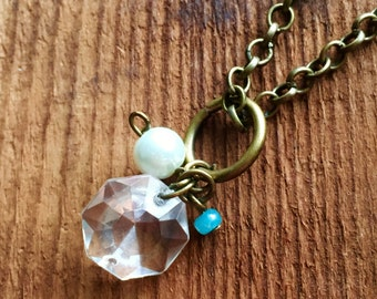 Upcycled Charm Necklace: Antique Crystal with Pearl and Pastel Blue Beaded Charms