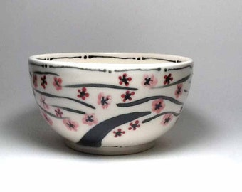 Pink and Red Porcelain Bowl with Cherry Blossoms - Cherry Blossom Bowl - Handmade Ceramic Bowl Ice Cream Bowl - Cereal Bowl - Porcelain Bowl