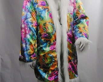 """Light Up Coat  REVERSIBLE  4"""" pile White Faux Fur Coat with Satin Psychedelic Print interior  60 RGB LEDs  Limited Edition Light Up Fur Coat"""
