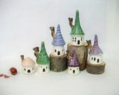 Garden Fairy Houses - Set of 6 - White Houses with  Purple, Green, Pink and Blue  Roofs - Made on the Potters Wheel - Ready to Ship,