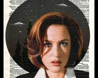 X Files Dana Scully I Want to Believe UFO Dictionary Art Print