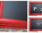 """LARGE RED FRAMED Chalkboard For Kitchen Magnetic 53""""x29"""" Tuscan Red Kitchen French Country Home Office Furniture Unique Interior Signage"""
