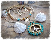 PEACE Sign NECKLACE Shanti spirit Turquoise beaded pendant Layering jewelry Yoga Meditation Boho necklace Hippie silver jewelry GPyoga