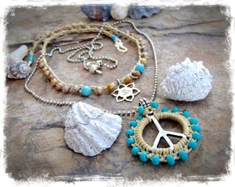 PEACE Sign NECKLACE Shanti spirit Turquoise beaded pendant Layering jewelry Yoga Meditation Boho necklace Hippie silver jewelry GPyoga