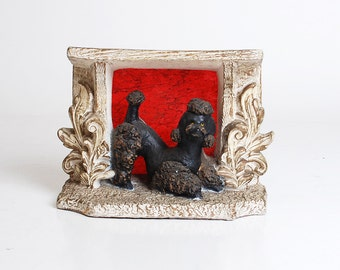 Vintage 50s French Poodle TV Lamp / 1950s Mid Century Modern Chalkware Lamp