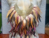Feather Fringe Necklace with Brass Owl Pendant Long Ginger, Brown, Purple Striped Feathers w Double layers - FESTIVAL Bikini Top Tribal Boho