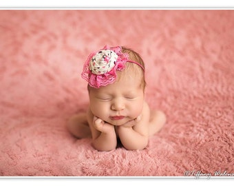 Pink grey and ivory rosette headband with lace