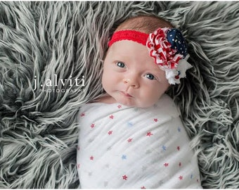 Red White and Blue double chiffon and rosette headband