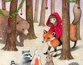 Festive Woods / 8x10 Fine Art Print / Little Red Riding Hood Illustration / Woodland Animal Print, Fox, Bear, Whimsical Art