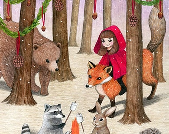 Festive Woods / 8x10 Fine Art Print / Little Red Riding Hood Illustration / Woodland Animal Print, Fox, Bear, Whimsical Art