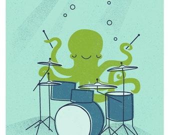 Octopus & Drums Print