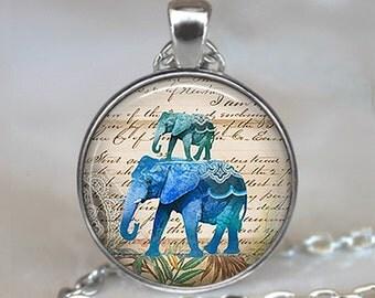 Blue Elephants necklace, Blue Elephants pendant, elephant jewelry elephant jewellery elephant keychain elephant key chain key fob