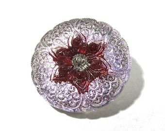 Czech Lotus Flower Button 27mm VINTAGE Czech Glass Button One (1) Lilac Purple Lace Czech Glass Vintage Button Jewelry Mosaic Supply (T168)