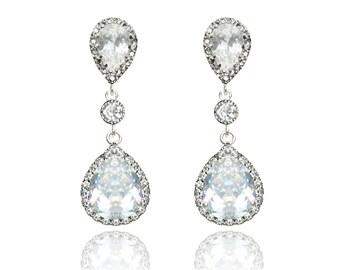 Teardrop Wedding Earrings, Cubic Zirconia Bridal Earrings, Wedding Jewelry, Bridesmaid Earrings, Crystal Bridal Jewellery, Sterling Silver