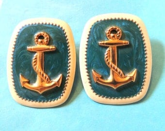 Large Nautical Pierced Earrings Aqua Blue Anchors Vintage Jewelry