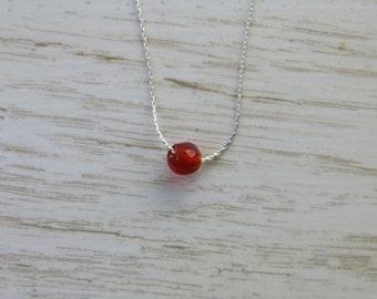 Dainty Silver Necklace, Single Bead Necklace, Tiny Carnelian Necklace, Orange Dot Necklace, Sterling Silver Necklace, Simple Bead Necklace