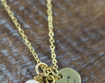 Personalized Owl Necklace Gold with Initial