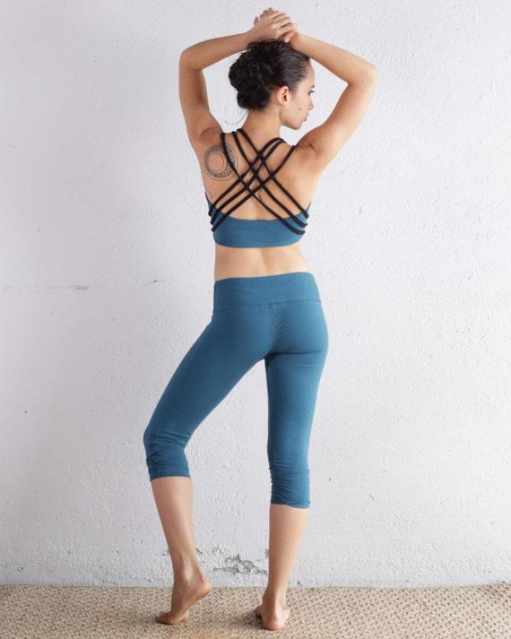 Organic Cotton Yoga Top  -  Yoga Bra - Teal Tank - Yoga Clothing - Bellydance Top