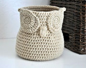 Beige Owl Basket Crocheted Bin Yarn Holder Gender Neutral Woodland Nursery Decor Modern Home Organizer