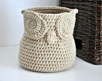 Buff Owl Basket Crocheted Bin Yarn Holder Gender Neutral Woodland Nursery Decor Modern Home Organizer