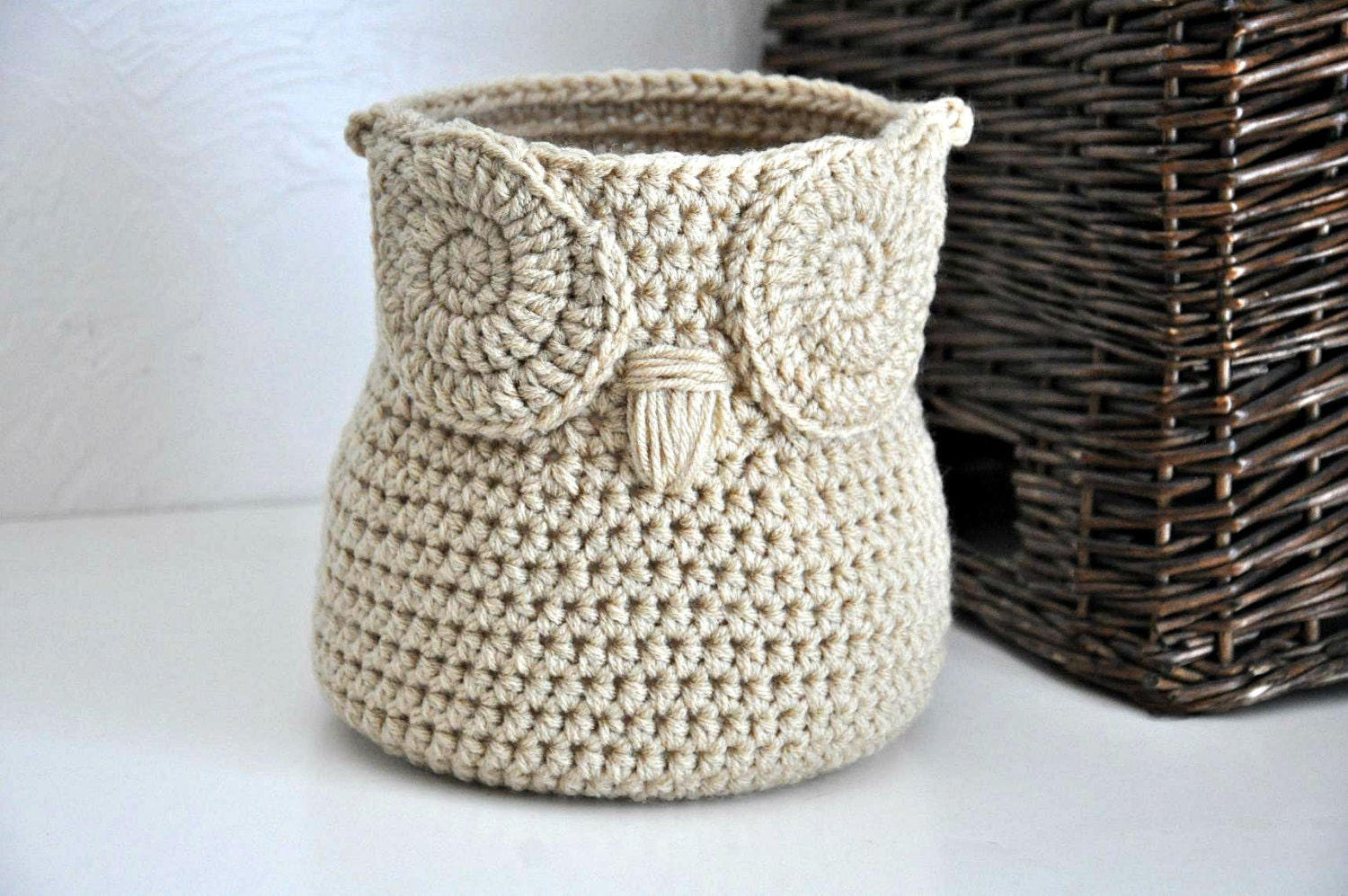 Free Crochet Patterns Owl Basket : Buff Owl Basket Crocheted Bin Yarn Holder Gender Neutral