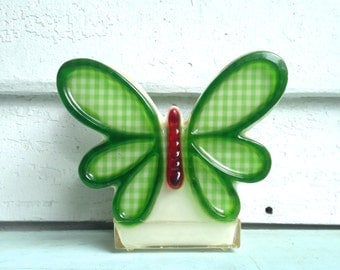 green gingham, vintage 1960s Resin Butterfly NAPKIN or ENVELOPE HOLDER - retro Kitsch Kitchen or Mod mcm Office, desk organizer
