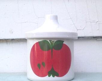 mod APPLES, vintage Waechtersbach APPLESAUCE jar - covered pot for preserves, jelly, jam, syrup, sauce - made in Western Germany