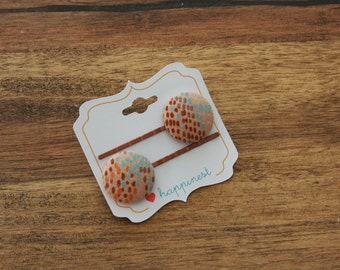 Patterned bobby pins, fabric button hair pins