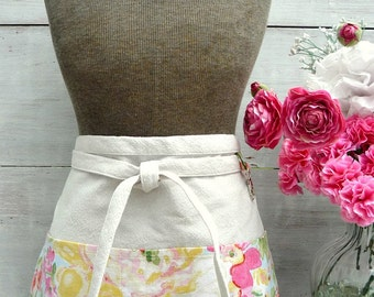 Bright Floral Apron - Pink, Red, Green, Yellow, Blue - Women's Apron - Garden - Vendor