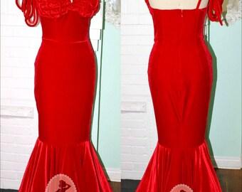 1950s Style Marilyn Red Velvet Formal- Henrietta Awards Dress-One Shoulder Mermaid Evening Gown Bridal Prom- Bespoke Custom Made