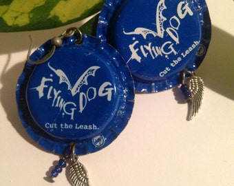 Flying dog bottle cap earrings