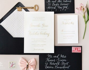 INVITATION SAMPLE The Darling Suite - Champagne Gold Foil Calligraphy Wedding Invitation - Heirloom Wedding Invitations by Sincerely, Jackie
