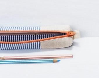 Nautical Linen Pencil Case, Blue White, Zipper Cotton Pencil Case, Small Cosmetic Pouch