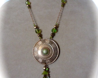 Boho Chic Style Pendant Necklace Art Deco Repurposed Brooch Green and Copper