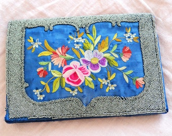 Antique jet beaded purse with embroidery flowers