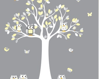 Wall Decals Nursery - Nursery Wall Decal - Tree Decal - Chevron Owl Tree Decal